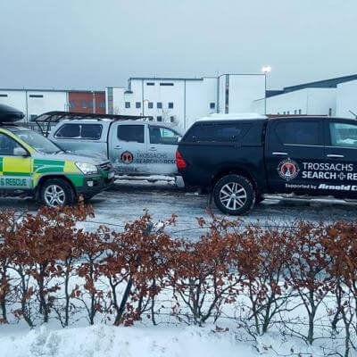 All three vehicles at Forth Valley Royal Hospital awaiting Patient Transport Service (PTS) taskings from the Scottish Ambulance Service and taskings by NHS Forth Valley to transport staff.