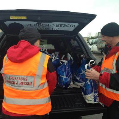 Food provided by Stirling Council was collected by the Toyota Hilux crews before heading to Carron Valley to distribute.