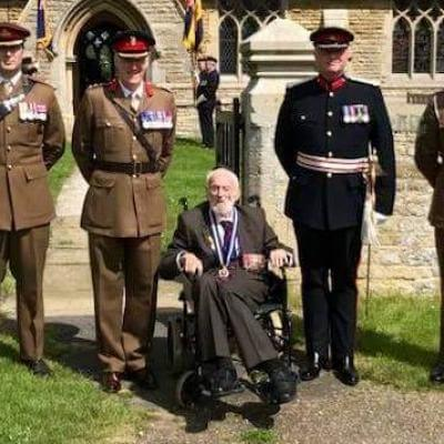 Bill was elevated to the rank of Chevalier de l'Ordre de la Legion d'Honneur by the French Republic in recognition of the part he played in liberating France. Here he is at the ceremony in Peterborough.