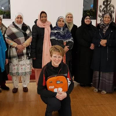 Members of the Al-Furqan mosque in Woodlands where Joanne and Nikola delivered a Heartstart class.